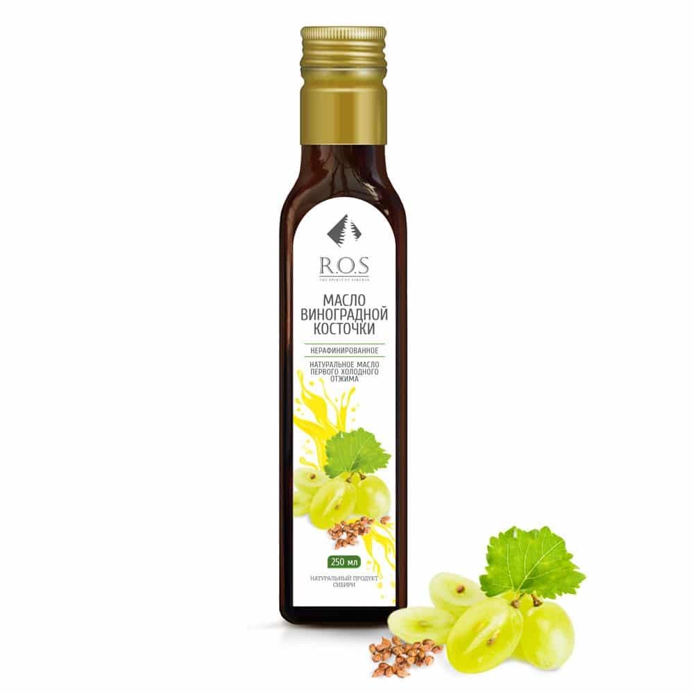 Виноградной косточки масло нерафинированное холодного отжима, 250мл, R.O.S