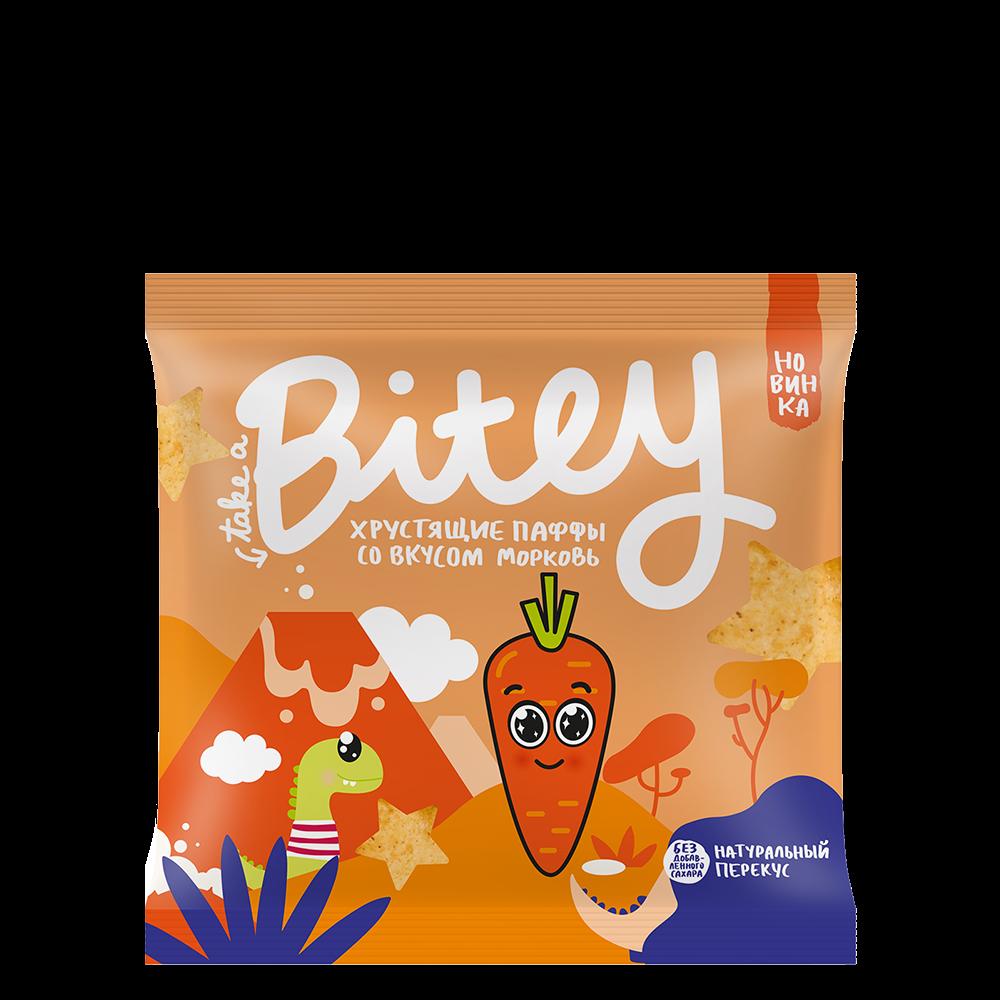 Хрустящие Паффы-чипсы Bitey со вкусом «Морковь», 20 г