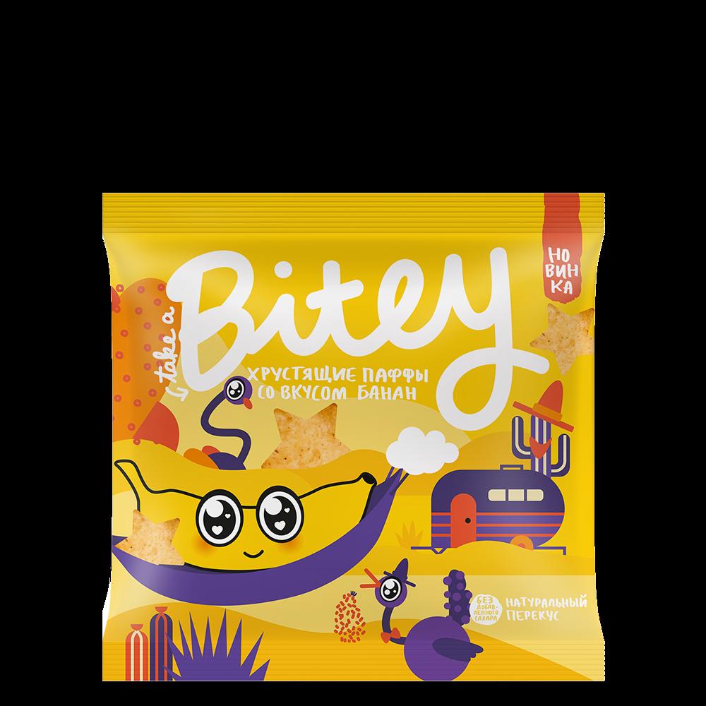 Хрустящие Паффы-чипсы Bitey со вкусом «Банан», 20 г