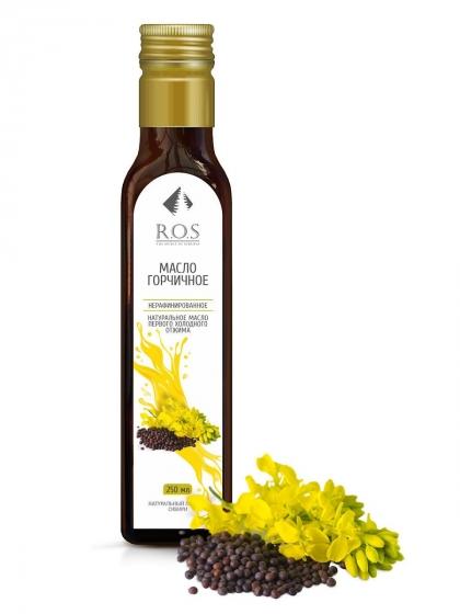 Горчицы семян масло (горчичное) нерафинированное холодного отжима, 250мл, R.O.S