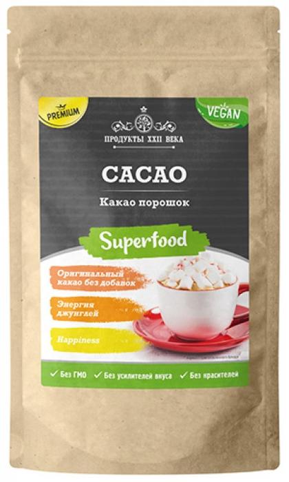 Какао Премиум, порошок натуральный, 200г, Продукты XXII века