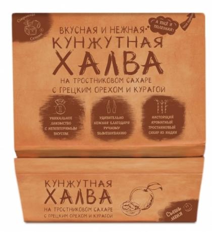 Халва кунжутная на тростниковом сахаре с грецким орехом и курагой, 290гр.