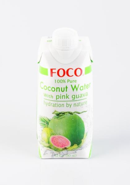 Кокосовая вода с соком розовой гуавы, 330мл. Foco