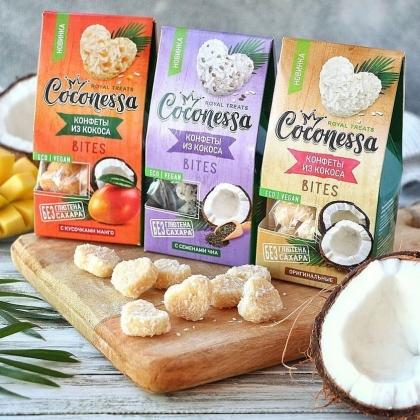 Кокосовые конфеты с семенами чиа, Coconessa