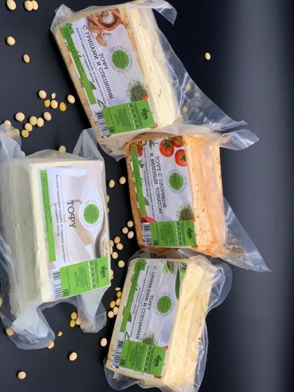Копченый тофу с грибами